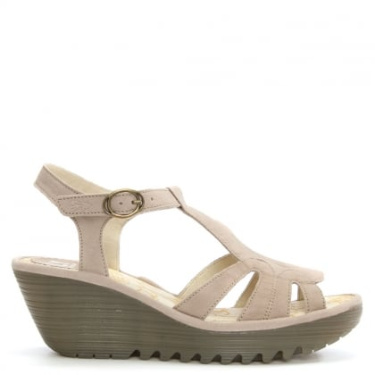 Yini Concrete Leather T Bar Wedge Sandal