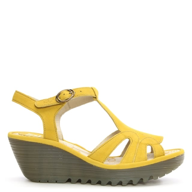 Yini Lemon Leather T Bar Wedge Sandal