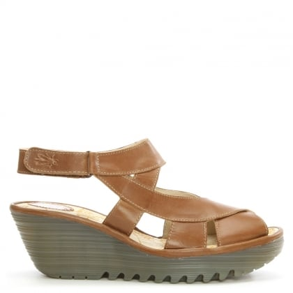 Fly London Yona Camel Leather Cross Over Strap Wedge Sandal