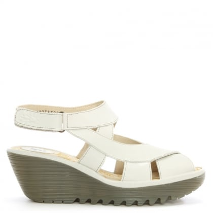 Fly London Yona Off White Leather Cross Over Strap Wedge Sandal