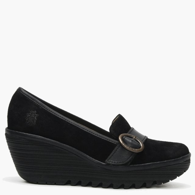 9a3020d0d58 Fly London Yond Black Suede Wedge Loafers