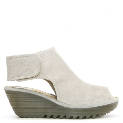 Fly London Yone Concrete Suede Backless Wedge Sandal