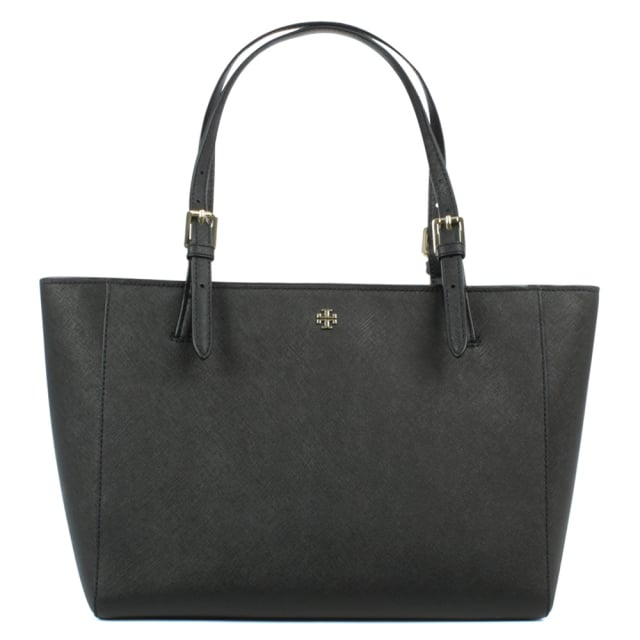York Black Leather Top Zip Tote Bag