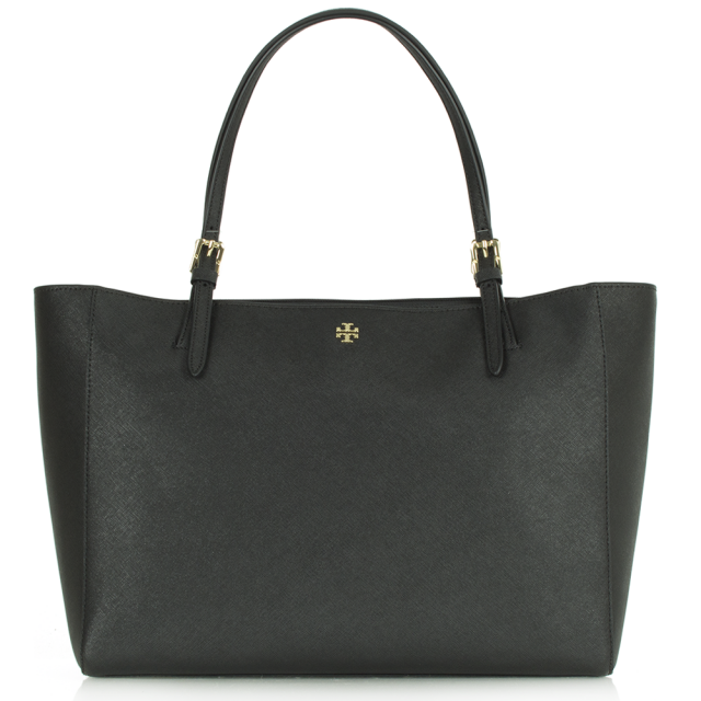 York Buckle Black Leather Tote Bag