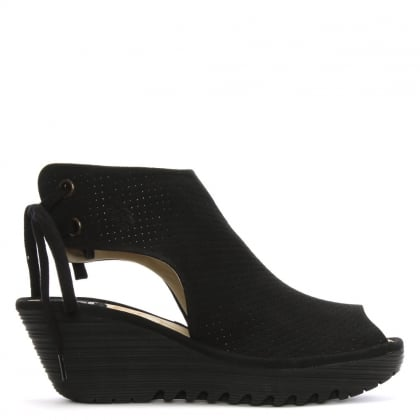 Ypul Black Leather Sling Back Wedge Sandals