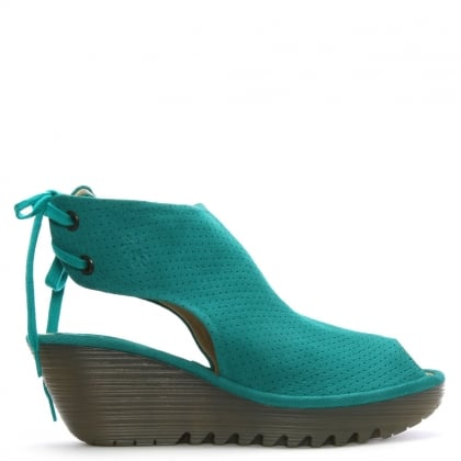 Ypul Turquoise Leather Sling Back Wedge Sandals