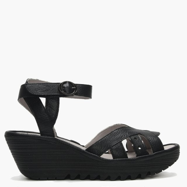 bc108dfba53c3 Fly London Yrat Black Leather Wedge Sandals