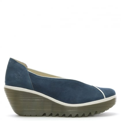 Yuca Blue Suede Piped Trim Wedge Pumps