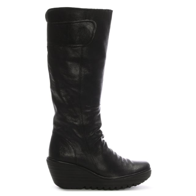 yulo-black-leather-ruched-knee-boots