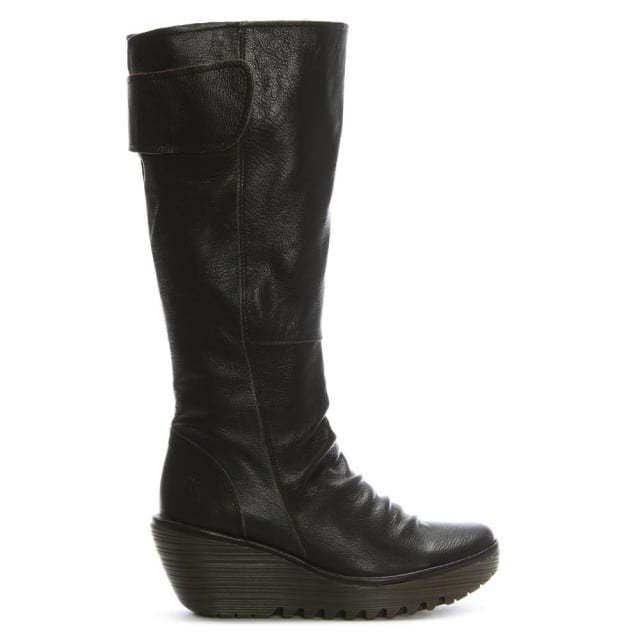 yulo-chocolate-leather-ruched-knee-boots