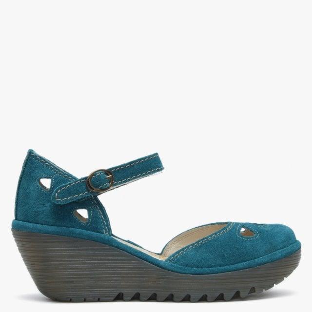 2b16e2222e965 Fly London Yuna Petrol Suede Wedge Shoes