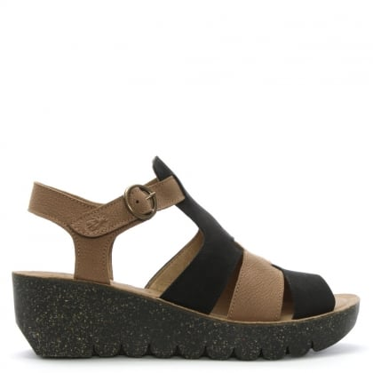 Yuni Multicoloured Leather Cleated Wedge Sandals