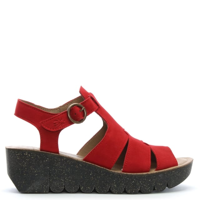 Fly London Yuni Red Leather Cleated Wedge Sandals