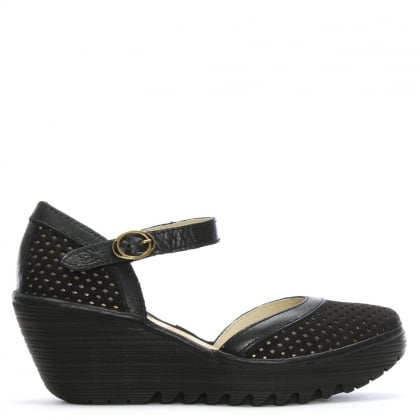 Yupi Black Suede Perforated Wedge Mary Janes