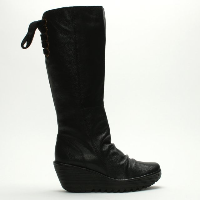 d8eaa55ac1ee Fly London Yust Black Leather Wedge Knee Boots