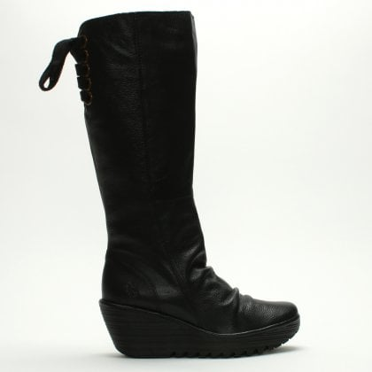 7d900dc6e9f9 Yust Black Leather Wedge Knee Boots