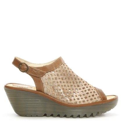 Yuti Gold Metallic Leather Perforated Wedge Sandal