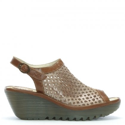 Yuti Tan Leather Perforated Wedge Sandals