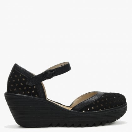 88e3829476b Fly London Yven Black Suede   Leather Perforated Wedge Shoes