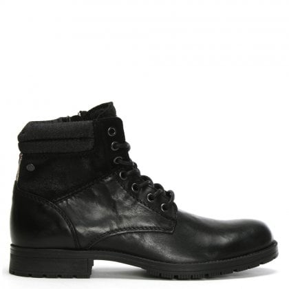 Zachary Black Leather Lace Up Boots