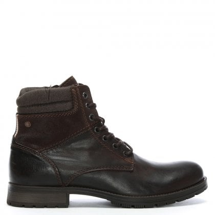 Zachary Brown Leather Lace Up Boots