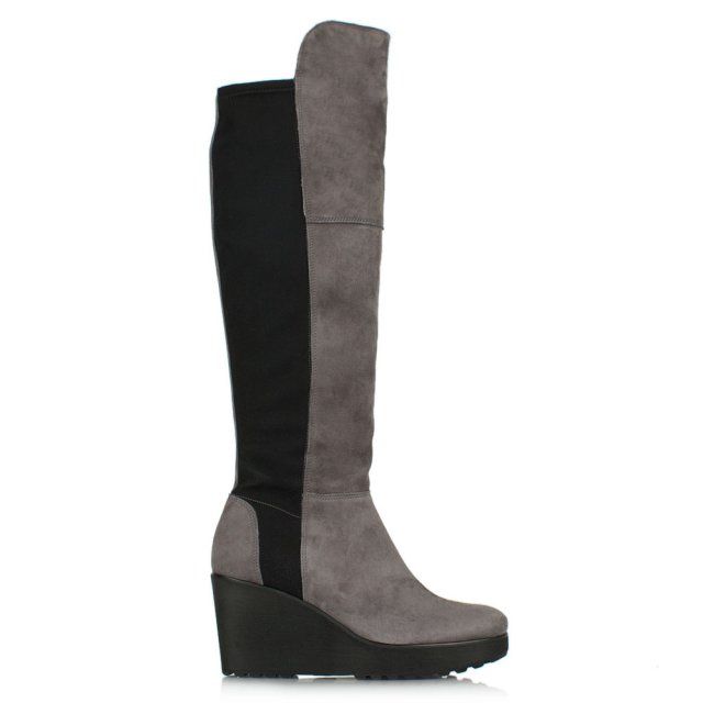 Zaff Grey Suede Stretch Back Wedge Knee Boot