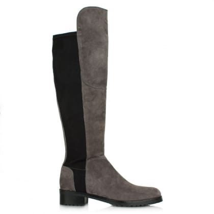 Zafferano Pewter Suede Elastic Back Riding Boot