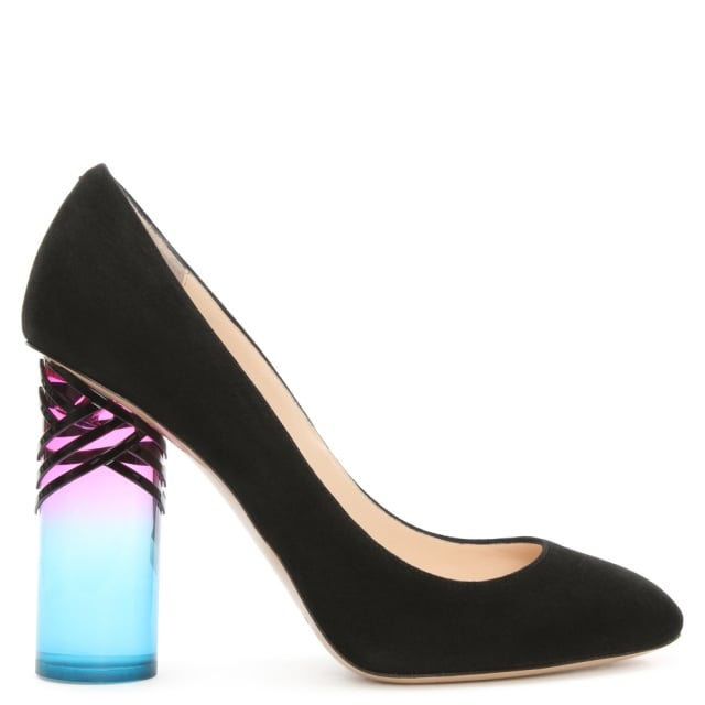 Zaha Black Suede Rainbow Heel Court Shoe