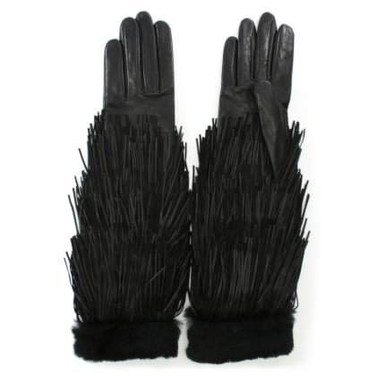 Zelda Black Leather Long Fringed Gloves