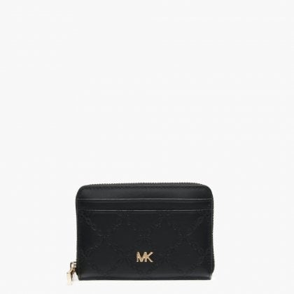 4bef382f3dd Michael Kors Zip Around Black Leather Chain Card Case