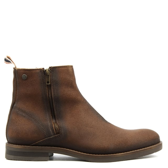 Zippy Brown Leather Waxed Ankle Boot