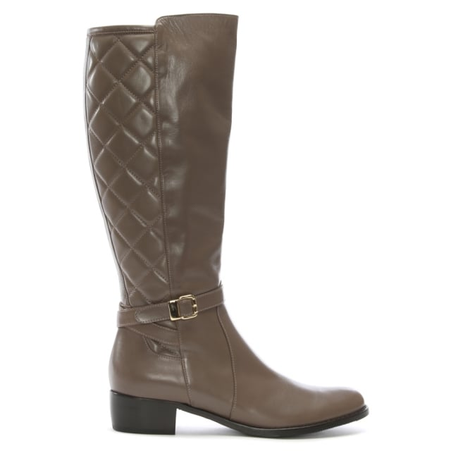 Zocal 2L Taupe Leather Quilted Knee Boots