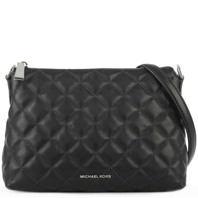 Zoe Quilted Black Leather Chain Handle Messenger Bag