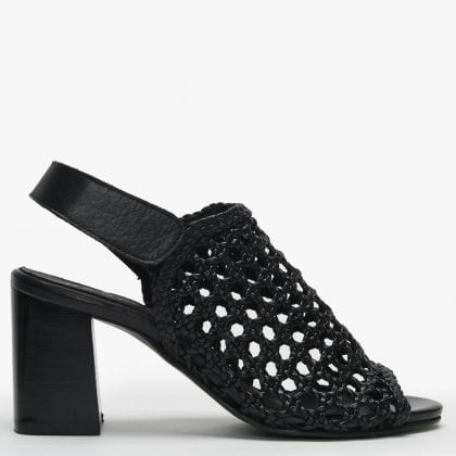 46c2d4bc45d2 Zoina Black Leather Woven Block Heel Sandals