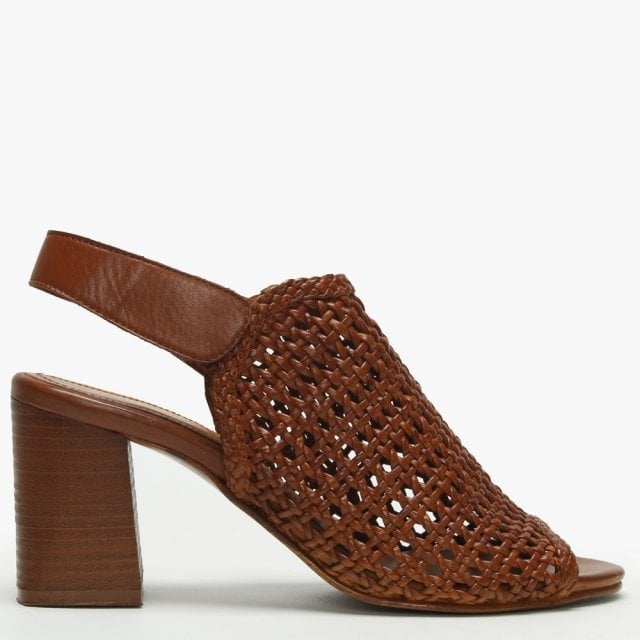 d121fff387d7 Daniel Zoina Tan Leather Woven Block Heel Sandals