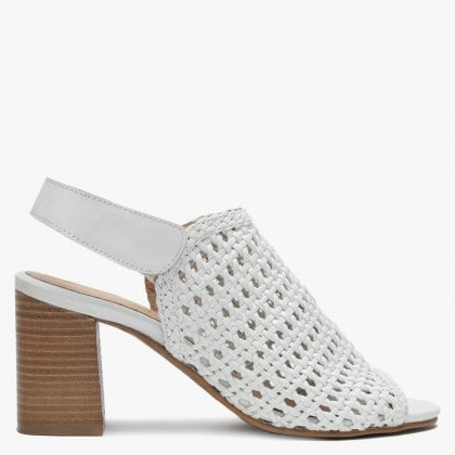 c7293ddd89d5 Zoina White Leather Woven Block Heel Sandals. Free Standard UK Delivery